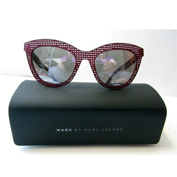 Marc by Marc Jacobs Burgundy Metal Sunglasses+Case